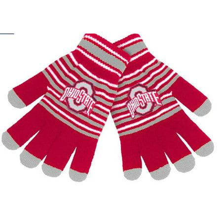 Ohio State Buckeyes Striped Acrylic - Ohio State Buckeyes Stripe Knit Stretch Gloves With Texting Tips
