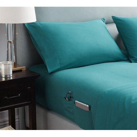 BYB Bedside Pocket Sheet Set - Supersoft Ocean Depths Teal ()