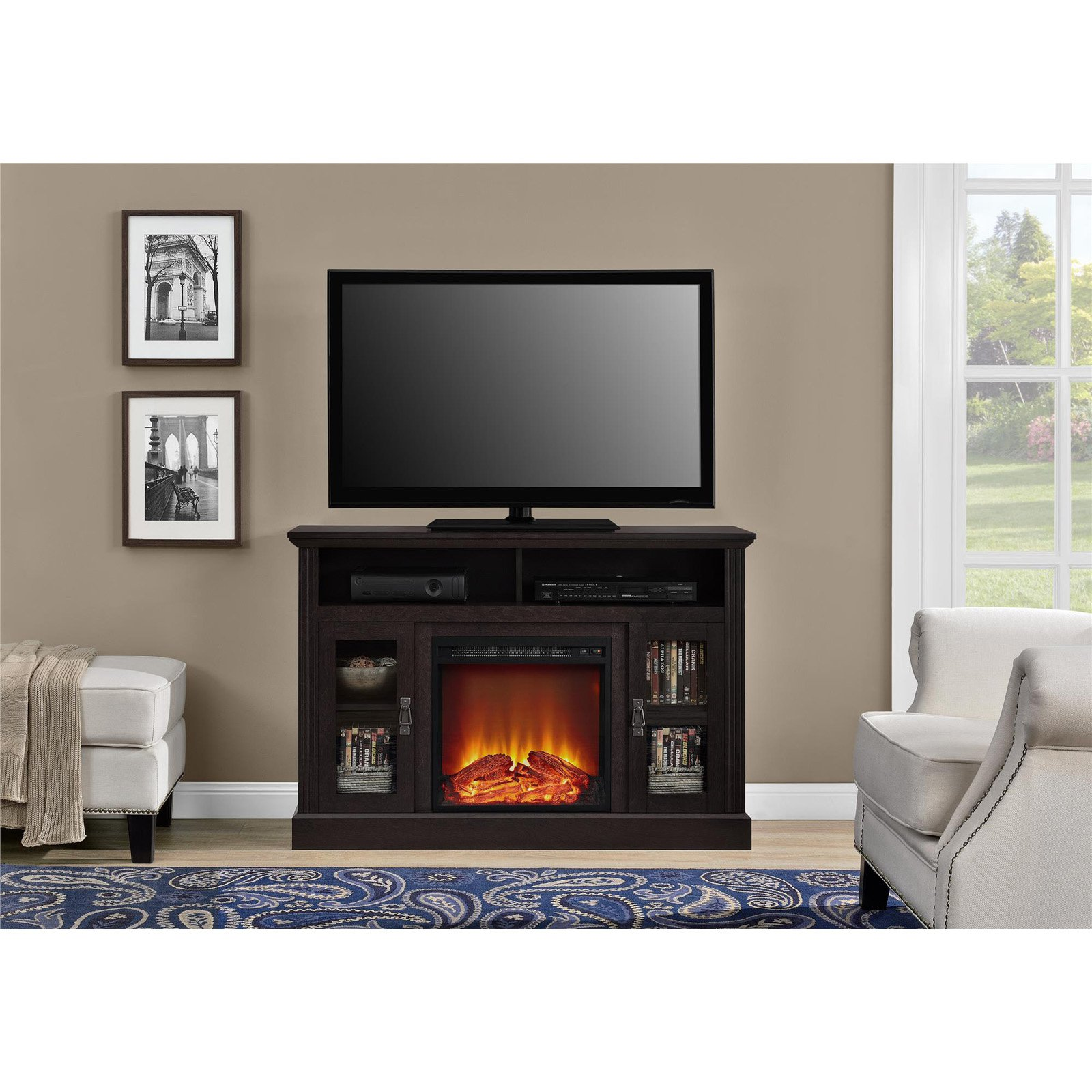 "Ameriwood Home Chicago Electric Fireplace TV Console for TVs up to a 50"" Multiple Colors"