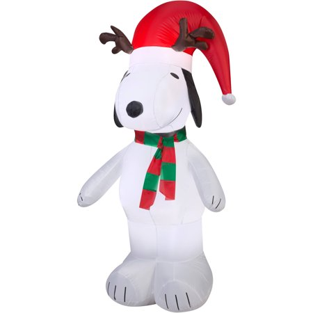 5 airblown inflatable snoopy with antlers and santa hat christmas inflatable - Snoopy Blow Up Christmas Decorations