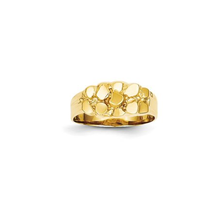 Gold Nugget Inlay (Solid 14k Yellow Gold Nugget Ring (8mm) - Size 4 )