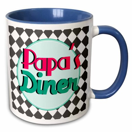 3dRose Papas Diner on black - Retro hot pink turquoise teal blue 1950s 50s fifties kitchen - Fathers day - Two Tone Blue Mug, 11-ounce](50s Diner Girl)