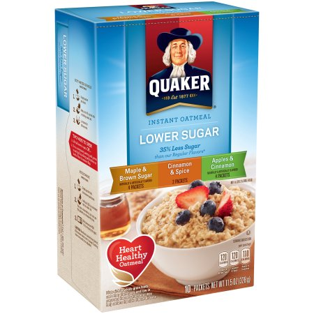 (4 Pack) Quaker Instant Oatmeal, Lower Sugar Variety Pack, 10 Packets