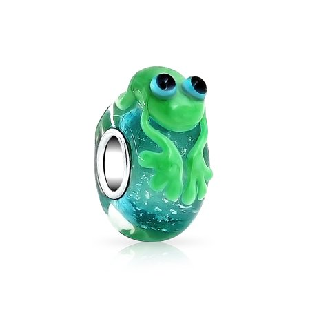 Frog Jewelry - Bling Jewelry Sterling Silver Murano Glass Cute Green Frog Fits Pandora
