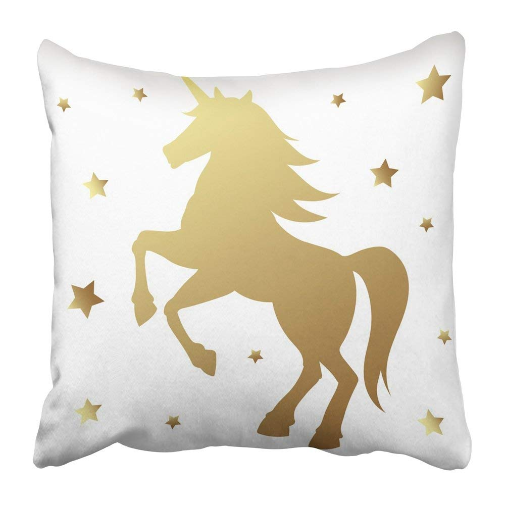 BPBOP Black Cute Unicorn Silhouette Golden Magic with Star on White Fairy Horse Animal Horn Baby Kid Tale Pillowcase Pillow Cover 18x18 inches