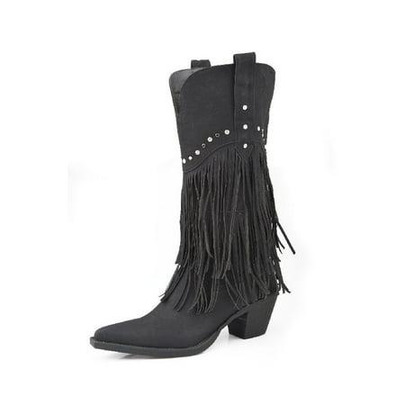 "Roper Western Boots Womens 12"" Fringe Stud Black 09-021-1556-0684 BL"
