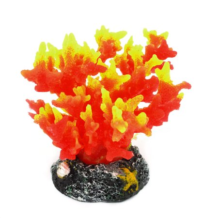 Unique Bargains Silicone Aquarium Emulational Coral Water Plant Decor 8cm High Yellow Red (Emulational Water)