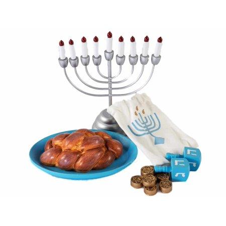 18 Inch Doll Accessories, 21 Pc Hanukkah Menorah, Gelt, Dreidel, Challah, Platter](Hanukkah Accessories)