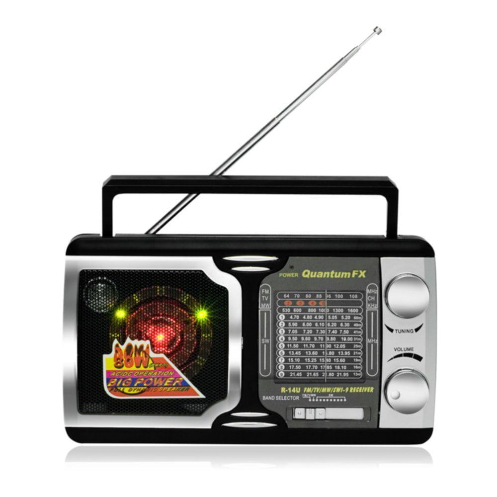 QFX R_14U Portable Radio AM_FM TV SW1_SW9 12 Band Recharg...