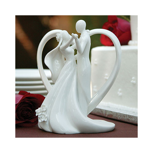 Elegant Heart Bride and Groom Dancing Cake Toppers