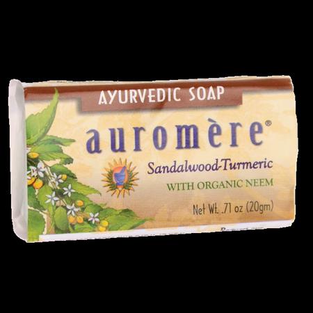 Auromere Ayurvedic Soap - Sandalwood-Tumeric 0.60 oz (Best Ayurvedic Beauty Products)