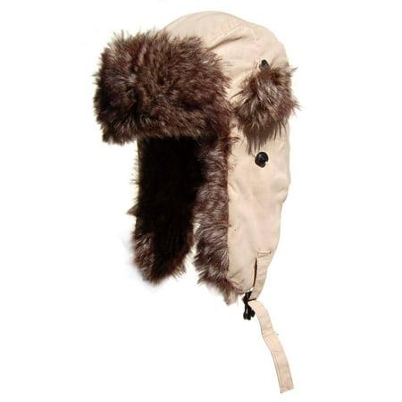 New York Designed Winter Faux Fur Aviator Hat Cap - Camel (7 Colors)