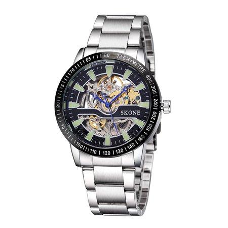 SKONE Top qualité 3ATM hommes résistant à l'eau montre analogique bon remontage de montre-bracelet mécanique avec aiguilles bleues - image 1 of 1