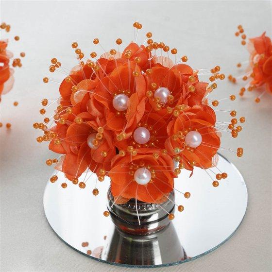 Faux Pearl Decor Flower Braids Corsage Boutineer Craft Orange 72 ...