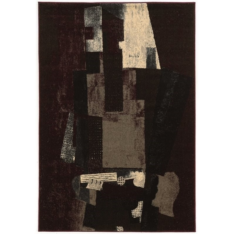 "Linon Masters 8' x 10' 3"" Rugs in Black and Burgundy"