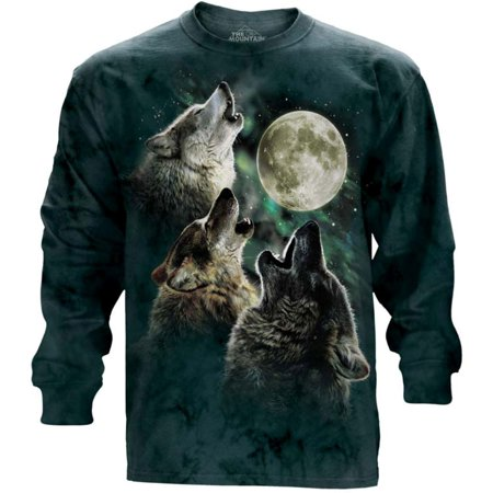 The Mountain Green Cotton Three Wolf Moon Design Adult Long Sleeve T Shirt