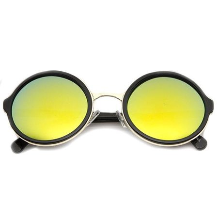 Classic Round Plastic Metal Frame with Flash Mirror Lens