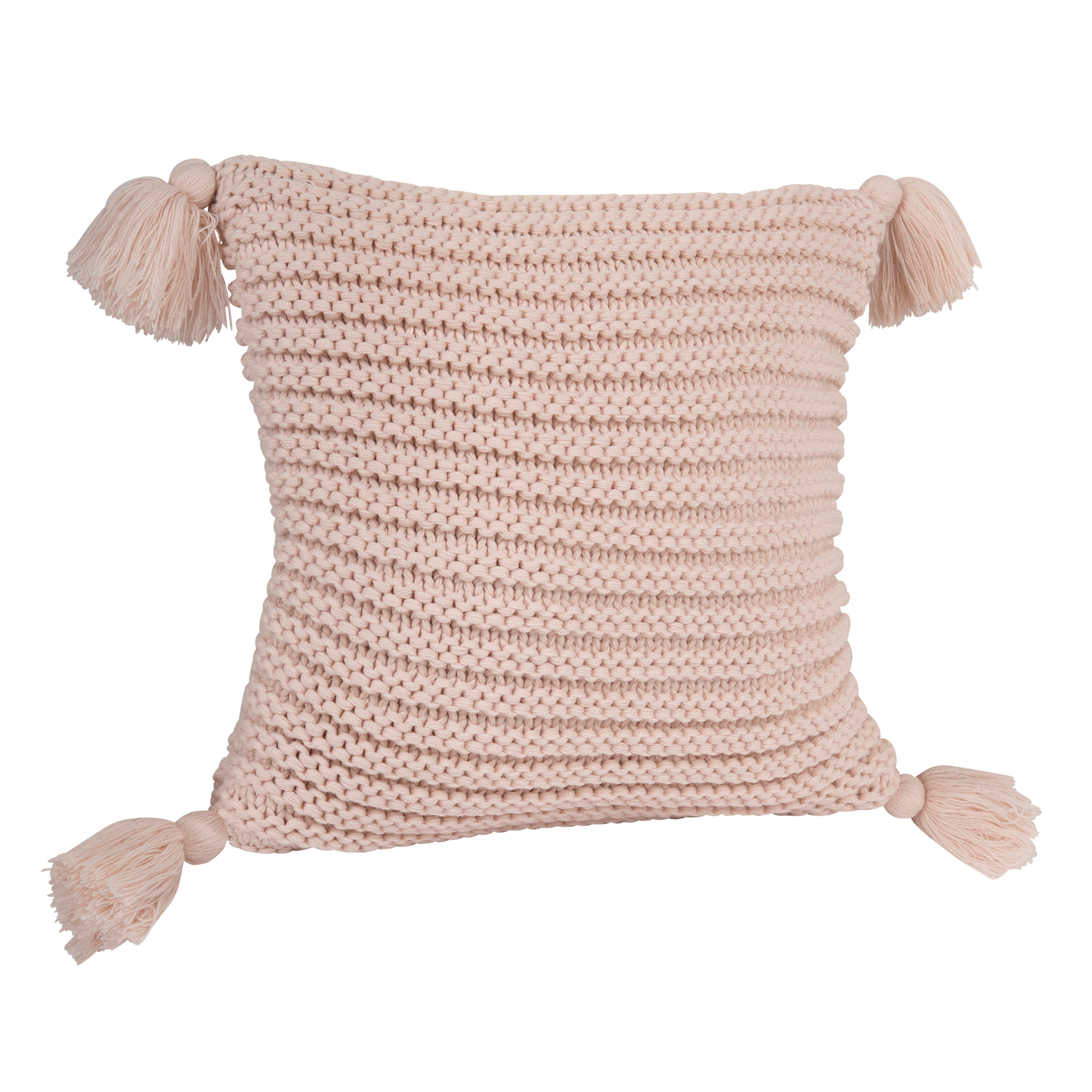 Kate And Laurel Tassey Large Ribbed Knit Throw Pillow Cover With Tassels 18 X 18 Dusty Pink Walmart Com Walmart Com