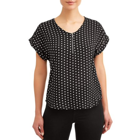 Women's Zipper Front Short Sleeve Popover