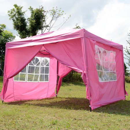 Square Tube Shelter (Instant Shelter 10x10 FT Pop-Up Canopy Pink Tent Sun Shelter Instant Setup with Free Carry Bag Straight Wall Leg )