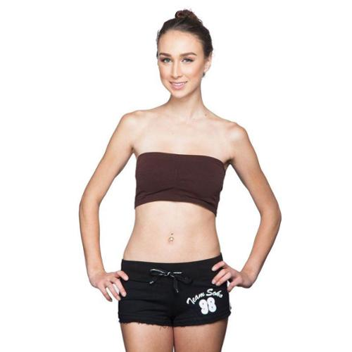 Junior Bandeau Strapless Tube Top with Pad (One Size Fits All) - Brown
