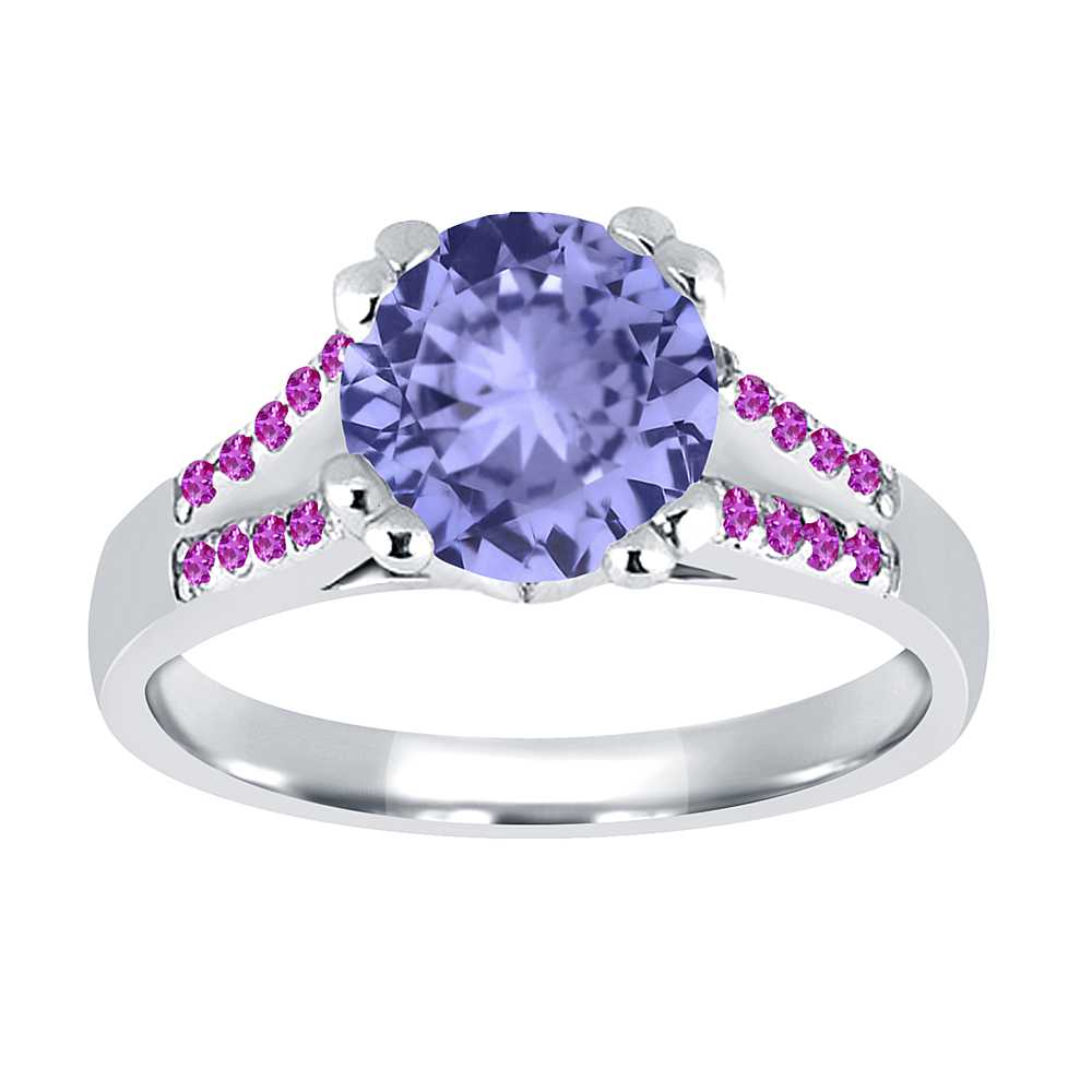 1.10 Ct Round Blue Tanzanite Pink Sapphire 18K White Gold Ring by