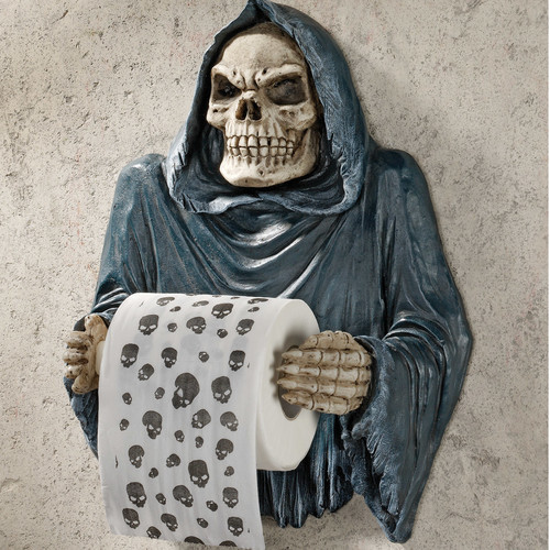 Design Toscano Wall Mounted Grim Reaper Sculptural Bath Tissue Tyrant