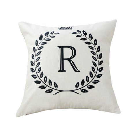 Home Cotton Linen Letter R Pattern Zippered Pillow Cushion Cover 18 x 18 (Cotton Letter)