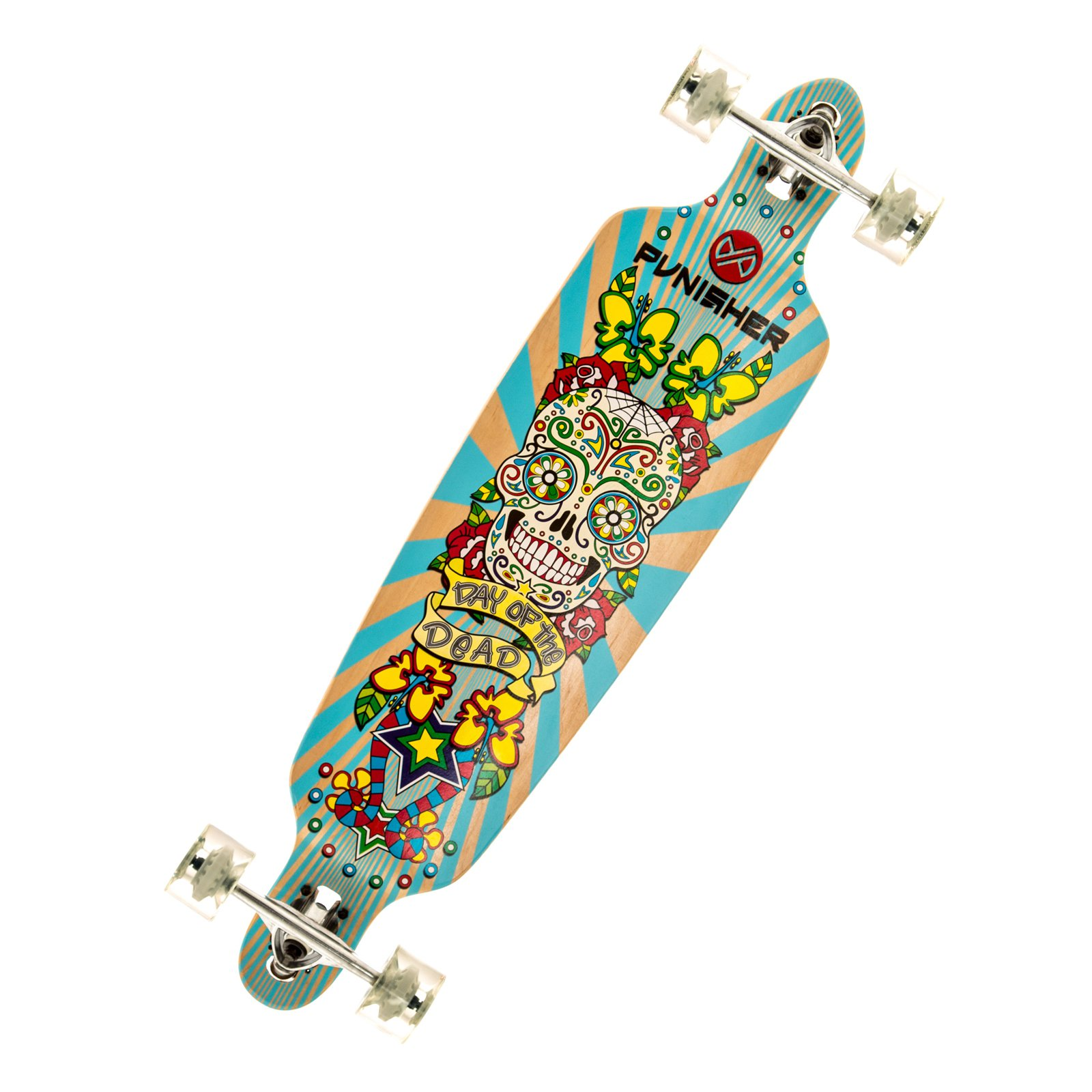 """Click here to buy Punisher Skateboards Day of the Dead 40"""" Longboard, Double Kick with Drop Down Deck by Punisher Skateboards."""