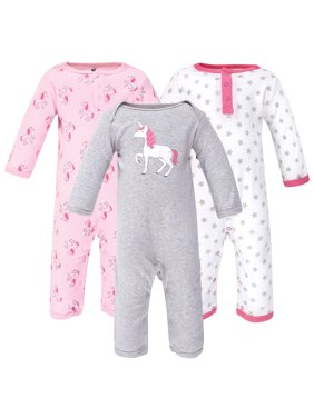 Hudson Baby Baby Girl Cotton Coveralls, 3-Pack