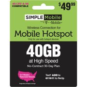 Simple Mobile $49.99 Hotspot 40GB Data 30 Day Plan e-PIN Top Up (Email Delivery)