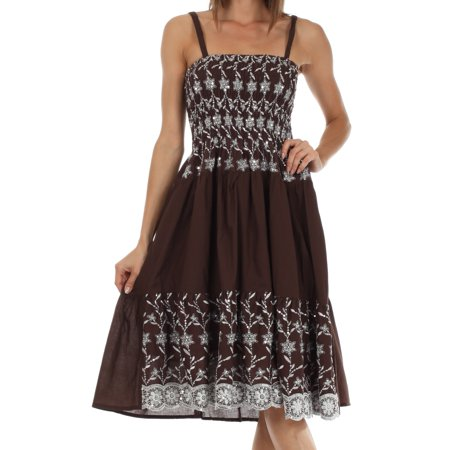 Sakkas Sequin Embroidered Smocked Bodice Knee Length Dress - Brown - One - Halloween Smocked Dress