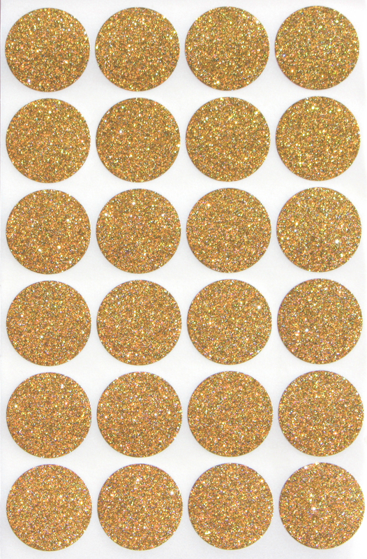 Gold glitter stickers 1 round 25 mm envelope seals sticker one inch rounds 360 pack by royal green