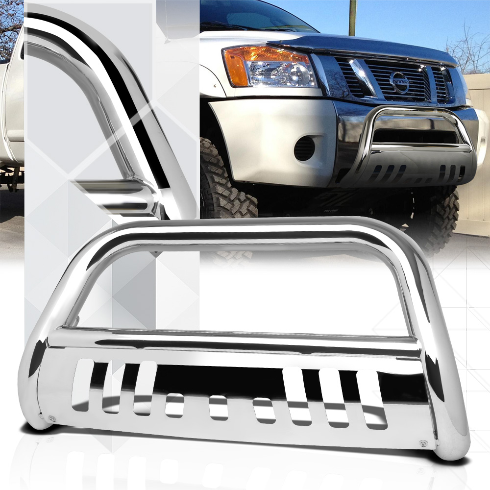 "Chrome 3"" Front Bumper Bull/Push Bar Brush Grille Guard for 04-15 Armada/Titan 05 06 07 08 09 10 11 12 13 14"