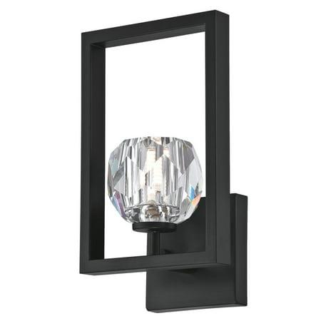 Light Fixture Gunmetal Finish (1 Light LED Wall Fixture Matte Brushed Gun Metal Finish with Crystal Glass )