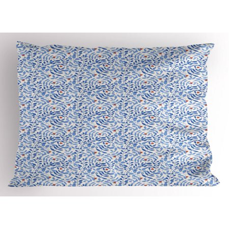 Nature Pillow Sham, Continuous Pattern with Tree Branches Leaves with Ladybugs, Decorative Standard Queen Size Printed Pillowcase, 30 X 20 Inches, Eggshell Violet Blue and Orange, by Ambesonne