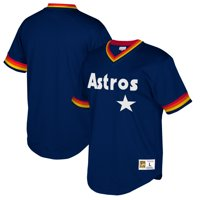 Houston Astros Mitchell & Ness Cooperstown Collection Mesh Wordmark V-Neck Jersey - Navy