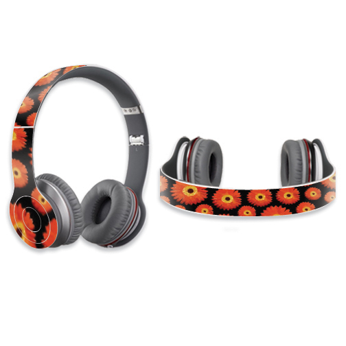Mightyskins Protective Vinyl Skin Decal Cover for Dr. Dre Beats Solo HD Headphones wrap sticker skins Orange Flowers