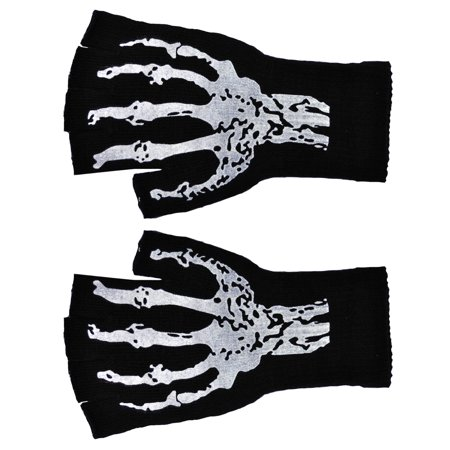 Short Fingerless Gloves with Skeleton Print Adult Halloween Accessory