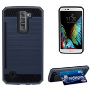 DARK NAVY BLUE BRUSHED METAL DESIGN SHELL CASE RUGGED TPU RUBBER HARD COVER WITH CARD STAND FOR LG K7 and LG TRIBUTE 5  (LG LS675, LG MS330, Sprint, MetroPCS, Boost Mobile)