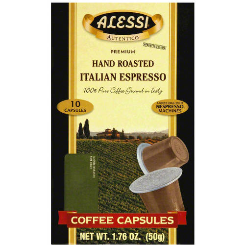 Alessi Hand Roasted Italian Espresso Coffee Capsules, 10 count, 1.76 oz (Pack of 12) by