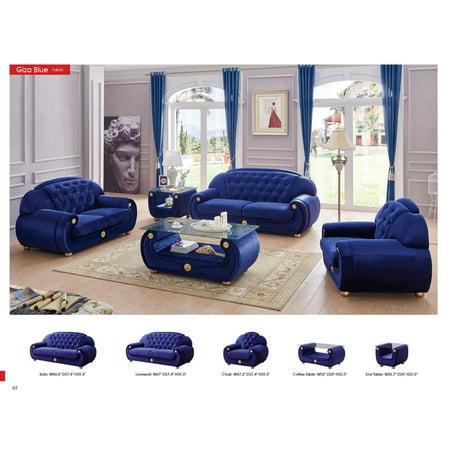 ESF Giza Contemporary Luxury Blue Microfiber Living Room Sofa Loveseat Chair Set Blue Living Room Set