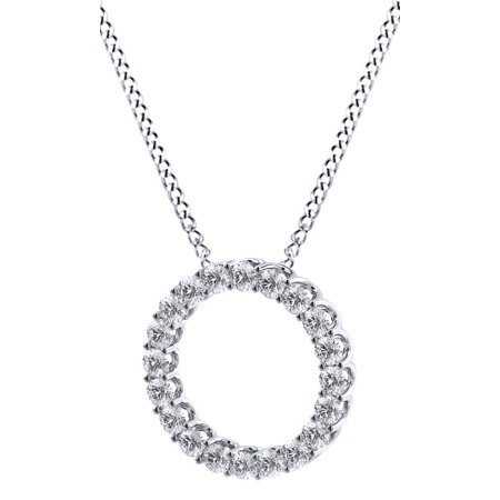 Round Cut White Natural Diamond Circle of Life Pendant Necklace In 14k White Gold