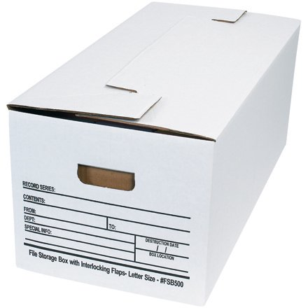 Single Replacement Flap - FSB500 White 24 Inch x 12 Inch x 10 Inch Single Wall Corrugated Interlocking Flap File Storage Boxes Made in USA CASE OF 12