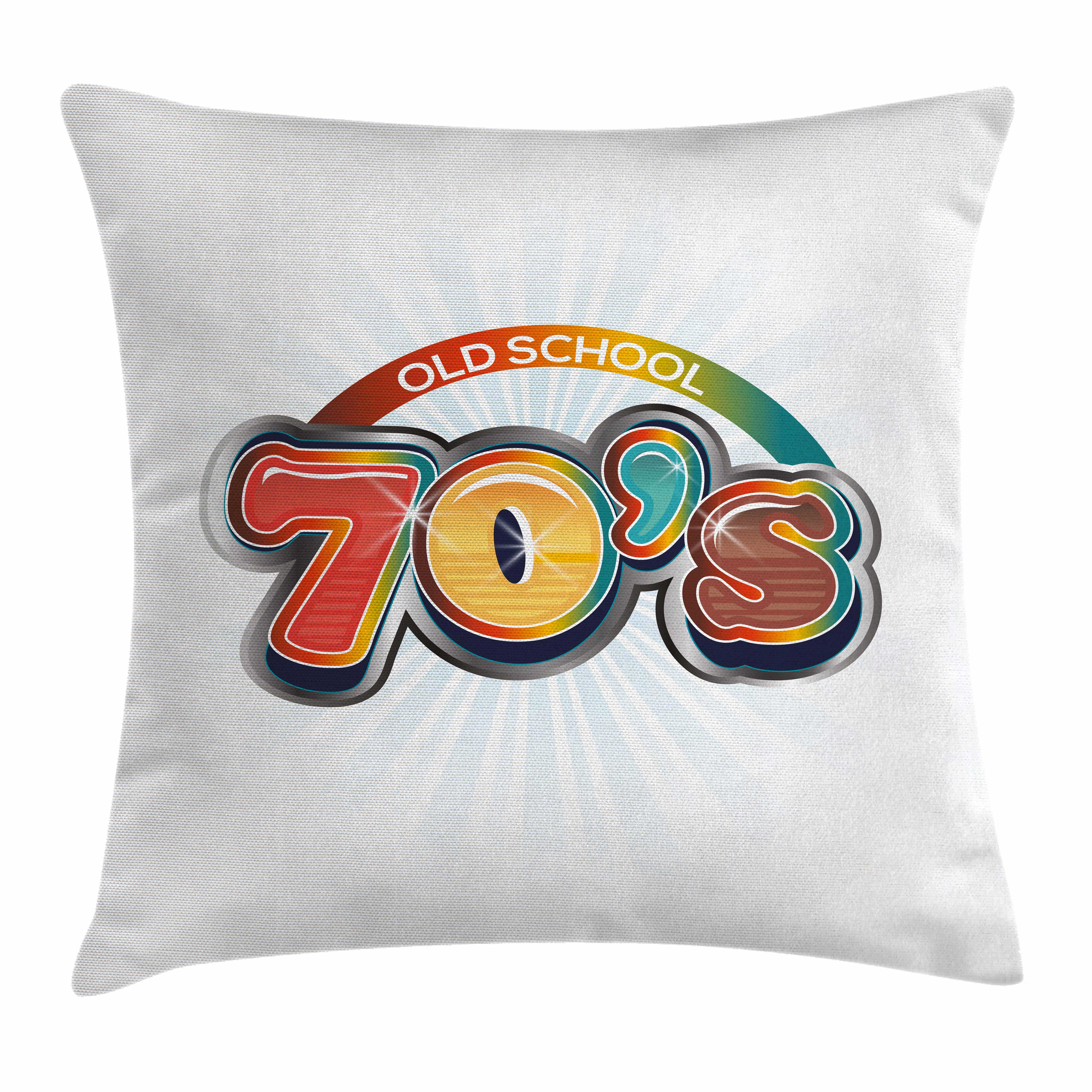 70s Party Decorations Throw Pillow Cushion Cover, Vintage Old School Icon Radial Design Classical Vivid Colored, Decorative Square Accent Pillow Case, 18 X 18 Inches, Red Marigold Aqua, by Ambesonne