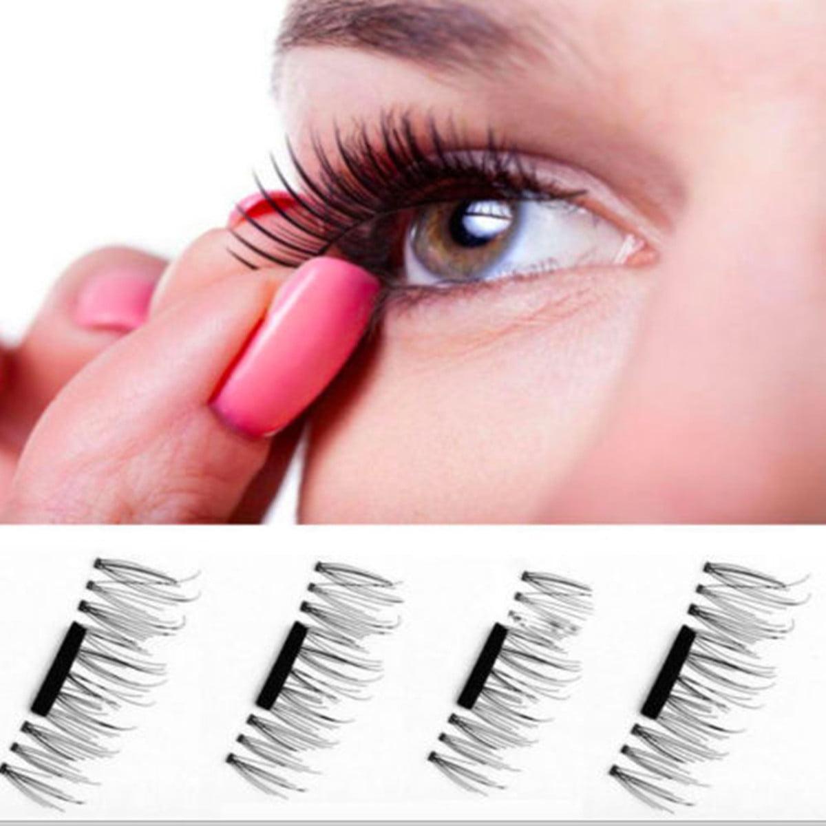4 Pcs/2 Pairs Magnetic False Eyelashes Natural Soft Makeup Handmade Long Lashes