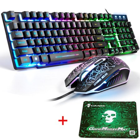 Wired Rainbow Backlight Usb Gaming Keyboard + Mouse + Mouse (Best Mousepad For Gaming 2019)