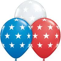 "Qualatex Big Stars Around Patriotic 11"" Latex Balloons, Red White Blue, 12 CT"