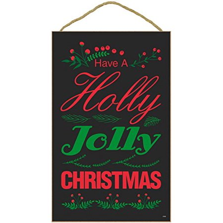 "Christmas Holiday Wall Hanging Decor Plaque Inscribed ""HAVE A HOLLY JOLLY CHRISTMAS"" (10"" x 16"" Black Background with Red and Green Colors) - Holiday Xmas Season Decoration"