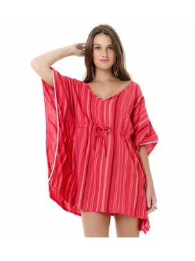 421394e2aebc6 Product Image Lagaci Kiss and Tell Woven Cotton Viscose Drawstring Waist Cover  Up, Coral